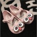Mini Sed 2016 novo estilo crianças meninas Cinto Sapatos sapatos de chuva ornamento coruja fivela chinelo sandália de borracha bonito cor azul preto vermelho