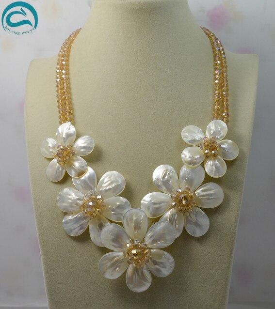 En gros 2 rangées Champagne cristal blanc couleur 5 coquille de mer fleur collier bijoux faits à la main 18 pouces parfait femmes cadeau