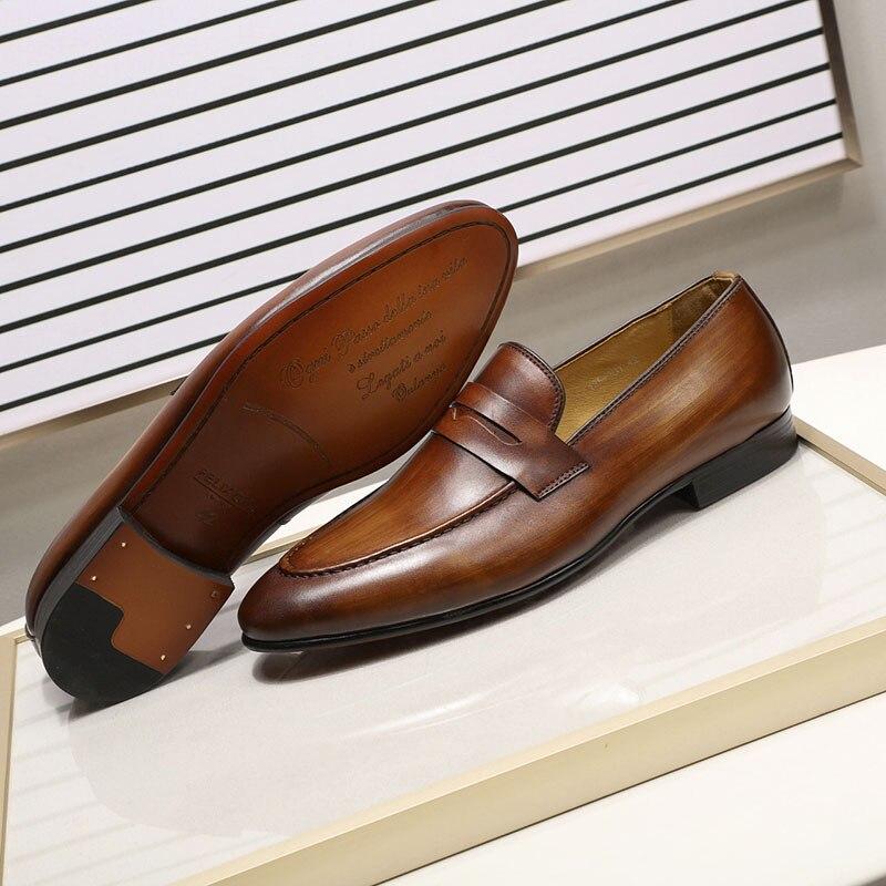 봄 가을 세련된 망 페니로 퍼스 정품 가죽 손으로 그린 슬립 남자 드레스 신발 웨딩 캐주얼 비즈니스 신발-에서포멀 슈즈부터 신발 의  그룹 3