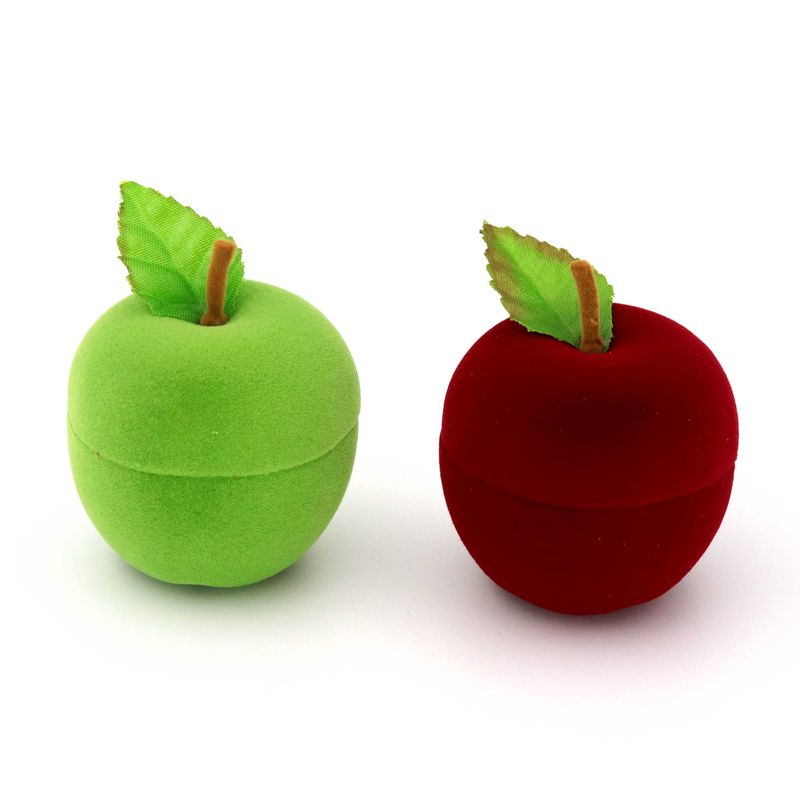 1 Piece Color Velvet Apple Ring Earrings Box Present Gift Jewelry Packaging Box For Wedding Engagement Display Holder Wholesale in Jewelry Packaging Display from Jewelry Accessories