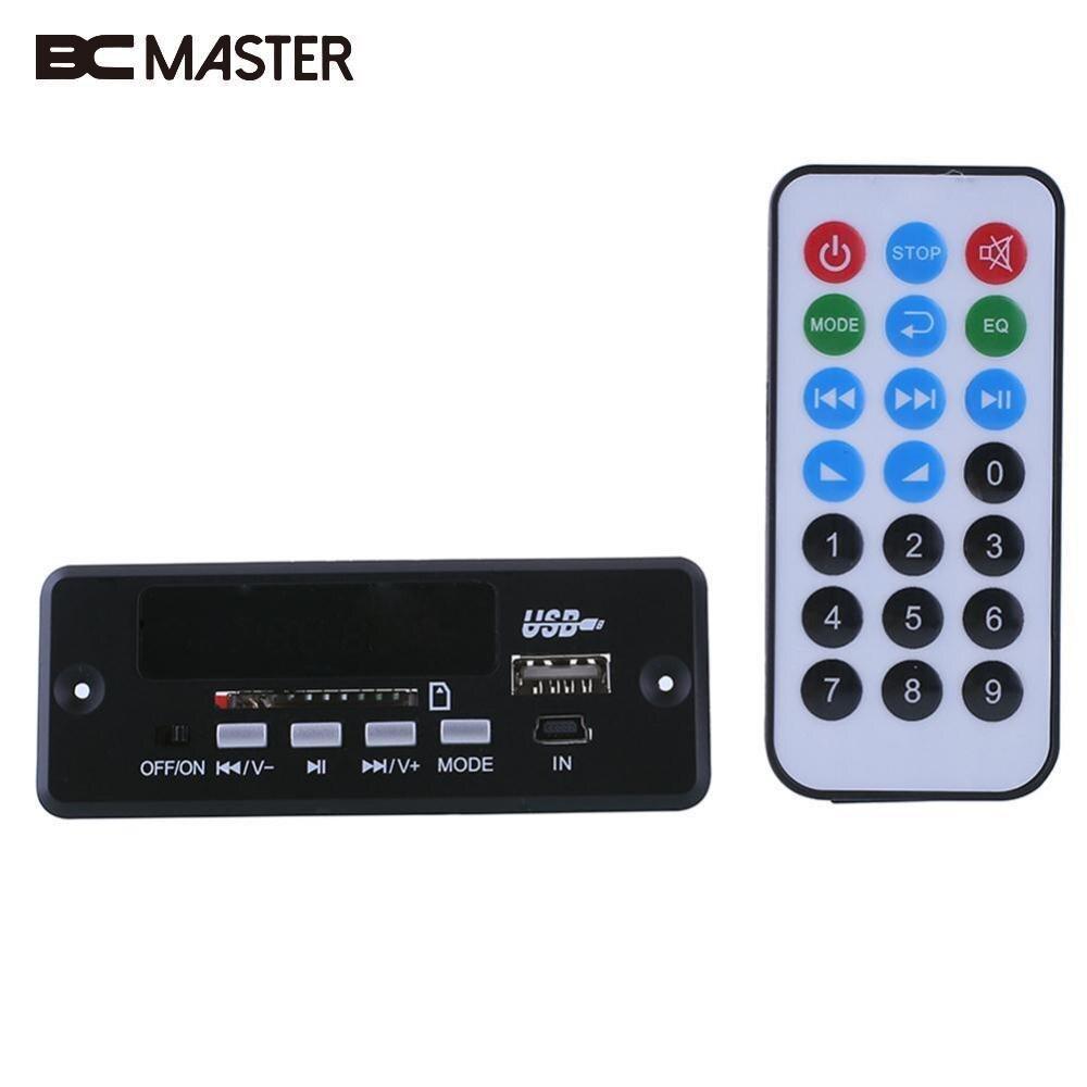 BCMaster Noir À Distance FM MP3 Lecteur Module 02CBT DC5V-12V MP3 avec bluetooth 3.0