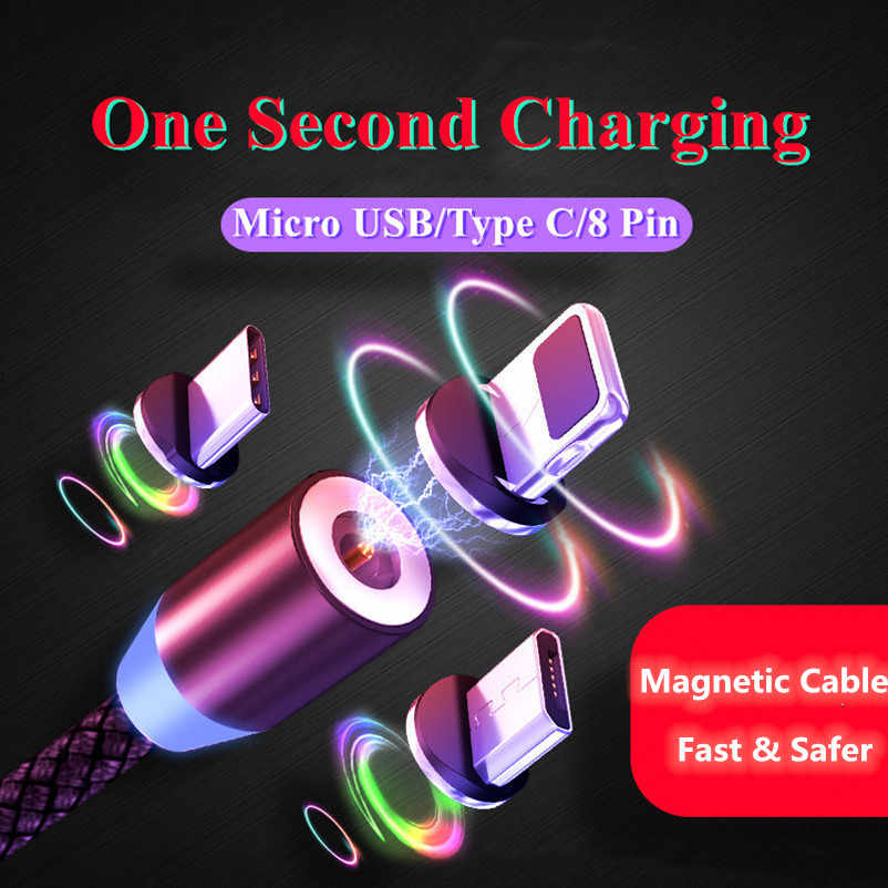 LED Magnetic Cable Braided Type C Micro USB Magnetic USB Charging Cables For Apple iPhone XR XS Max X 7 8 6 Samsung S9 S10 Cord