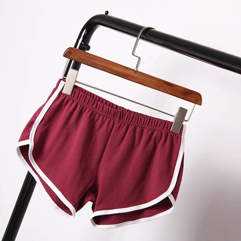 Women Cotton Blend Intimate Goods Summer Shorts Panties Biker Short Binding Side Split Elastic Waist Patchwork Casual Short Pant
