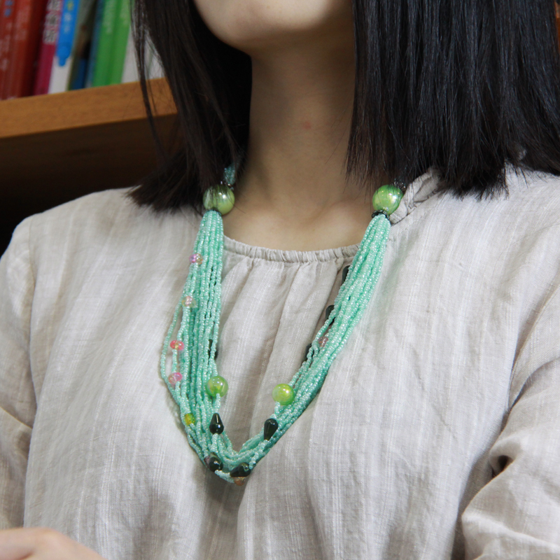 The seaside photograph is the role of the Bohemian wind multi-layer bead necklace A - 005