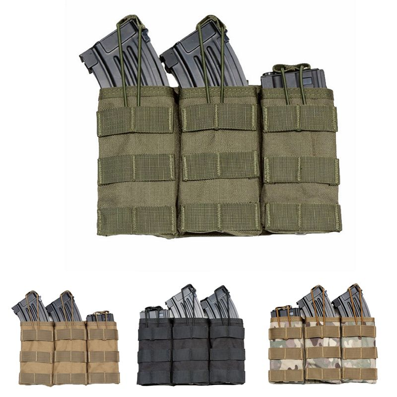 Tactical Triple Open-Top Military Airsoft Tactical AK <font><b>Magazine</b></font> Pouch AK AR <font><b>M4</b></font> AR15 Rifle Mag Pouch Paintball Equipment image