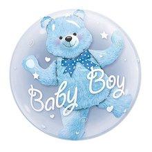 24inch Baby Boy Bear or Girl Blue Pink Bubble Bear Foil Ball