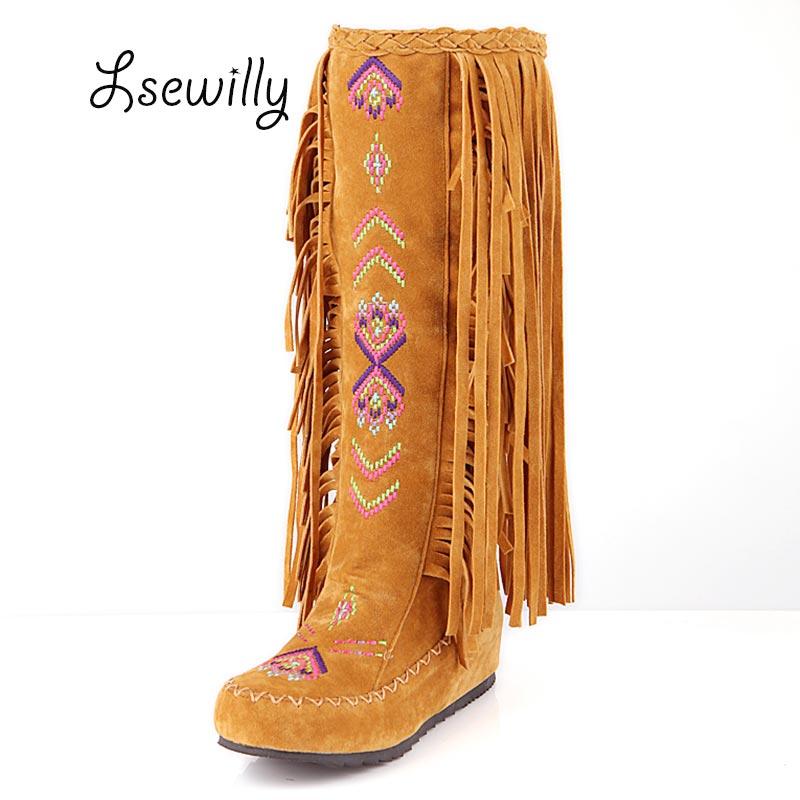 Lsewilly font b Women b font Fashion Flock Tassel Knee long font b boots b font