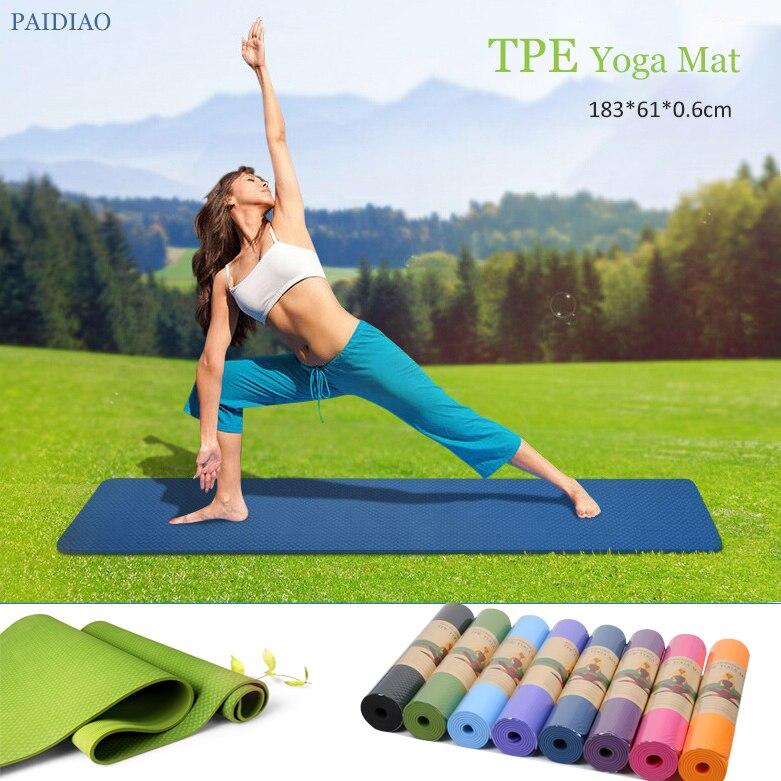 ①  6 мм TPE нескользящие водонепроницаемые коврики для йоги Фитнес безвкусно пилатес мат 8 цветов трена ★