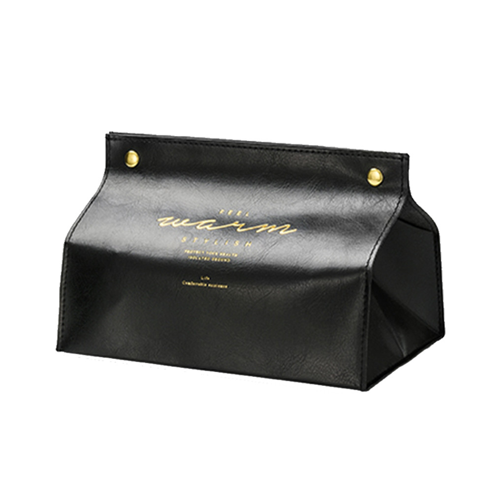 PU Leather Facial Tissue Box Cover Rectangular Napkin Snap Closure Hold Home Car