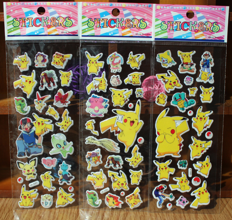 3pcs/lot Pokemon Pikachu Cartoon Puffy Stickers Kids Toy 3D Anime Stickers For Children Bubble Stickers Kids Scrapbook Sticker