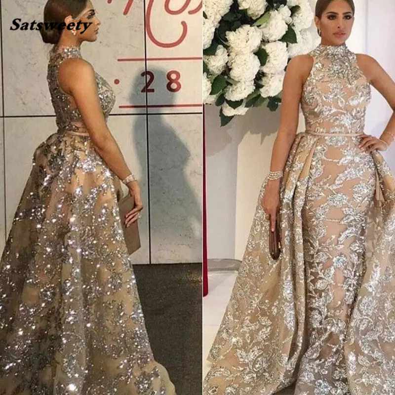 2020 Saudi Arabic Long Crystal Mermaid Formal High Collar Prom Party Gowns Luxury Sparkle With Train Evening Dresses - 2
