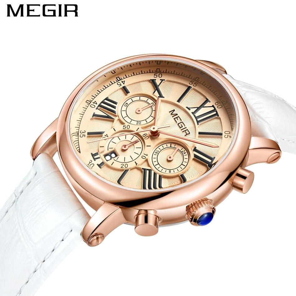 Повседневное Для женщин Часы Элитный бренд megir Модные женские Повседневные часы кожаный ремешок Wirstwatch Часы Relogio feminino для женщин