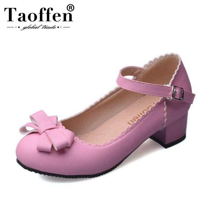 48 azul Dedo Alto Zapatos De Tamaño Bowknot Beige Diaria Mujeres Dama Mujer Las Taoffen Del púrpura 32 Oficina Grueso rosado Tacón Hebilla Pie Redondo Calzado Conciso wqEOgZIxz