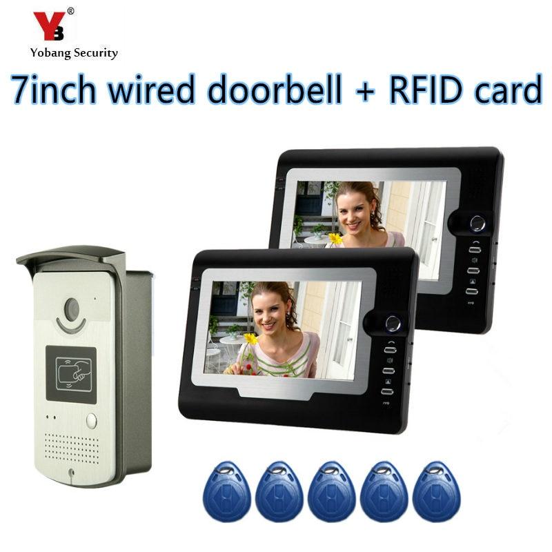 Yobang Security 7 Color LCD Wired Door Bell Video Intercom Camera Home Security Doorbell