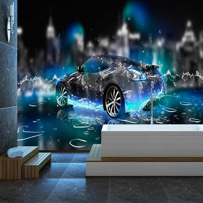 العرف ثلاثية الأبعاد خلفية الحديثة كول الرياضة سيارة صور جداريات حائطية غرفة المعيشة غرفة نوم الطفل ورق حائط الأطفال الكرتون ثلاثية الأبعاد جدارية ديكور