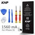 100% original marca khp real capacidade 1560 mah da bateria do telefone para o iphone 5s com ferramentas de máquina kit baterias móveis