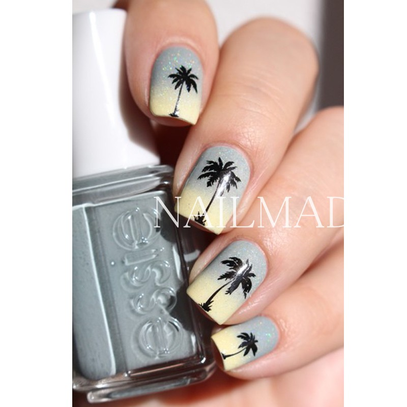 Black Coconut Tree Nail Art Sticker