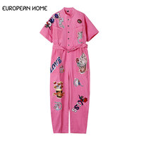 European Home New Harajuku rompers womens jumpsuit sequins letters embroidered denim Hip Hop jumpsuit women clothes 2019 899