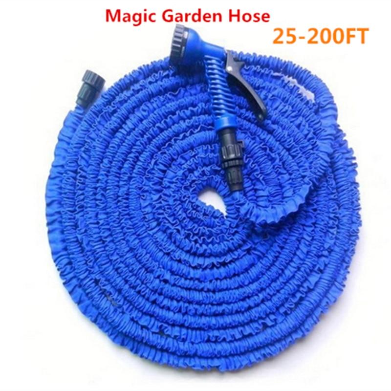 Magische flexibele tuinslang Tuinslanghaspels + spuitpistool Uitbreidbaar Autowaterslangaansluiting Blauw & Groen 25-200FT