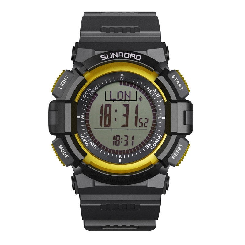 SUNROAD Digital Men Watch FR820 3ATM Waterproof Fishing Barometer Altimeter Weather Forecast Yellow Color Men Clock