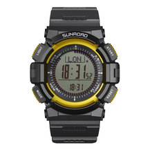SUNROAD Digital Men Watch FR820- 3ATM Waterproof Fishing Barometer Altimeter Weather Forecast Yellow Color Men Clock Watches
