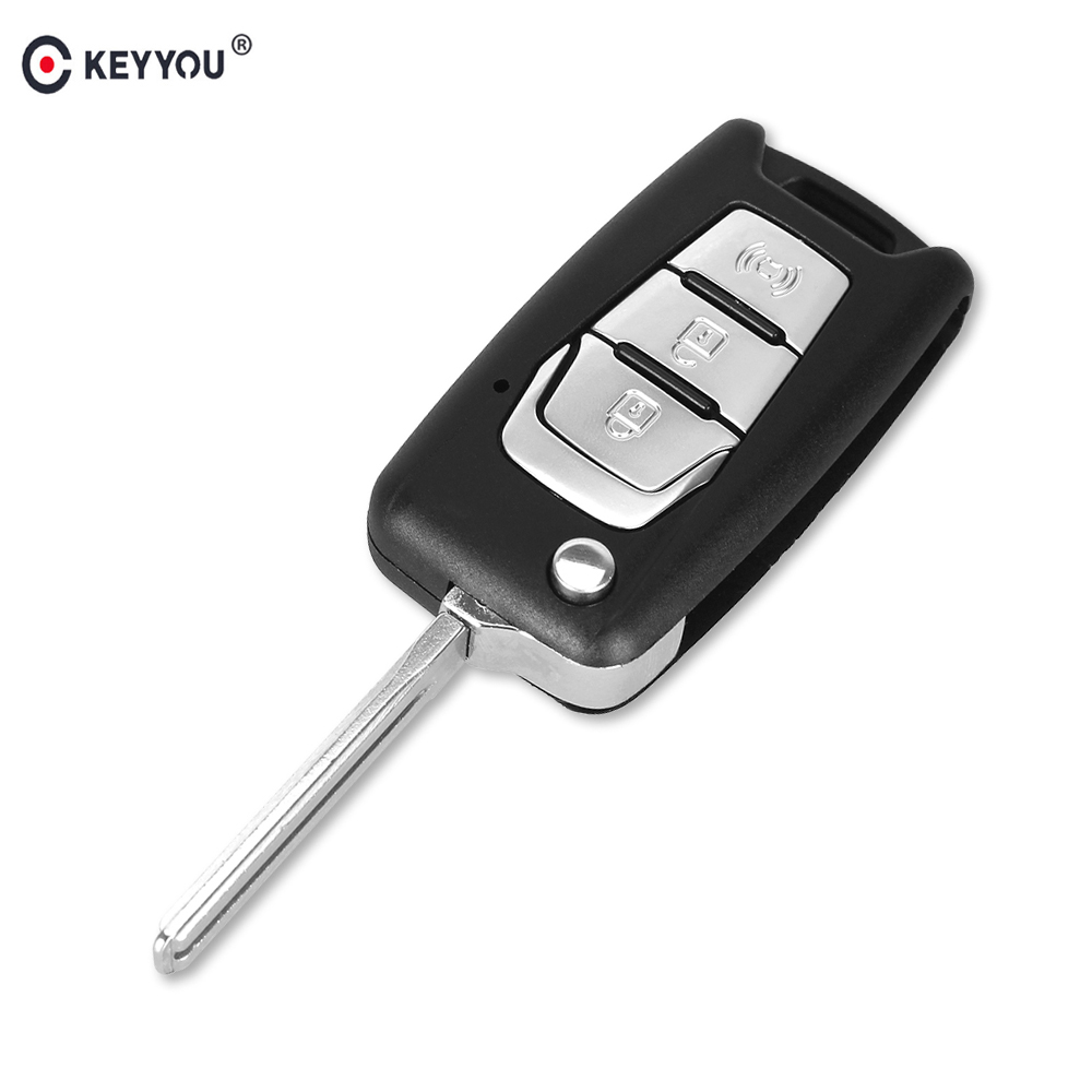 KEYYOU Flip Remote Key Shell Switchblade For Ssangyong Korando New Actyon C200 2016 2017 3 Button Folding Car Key Shell Case image