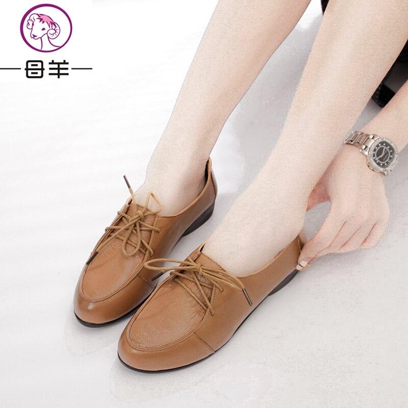 MUYANG MIE MIE Zapatos planos de cuero genuino de la mujer Moda - Zapatos de mujer - foto 4