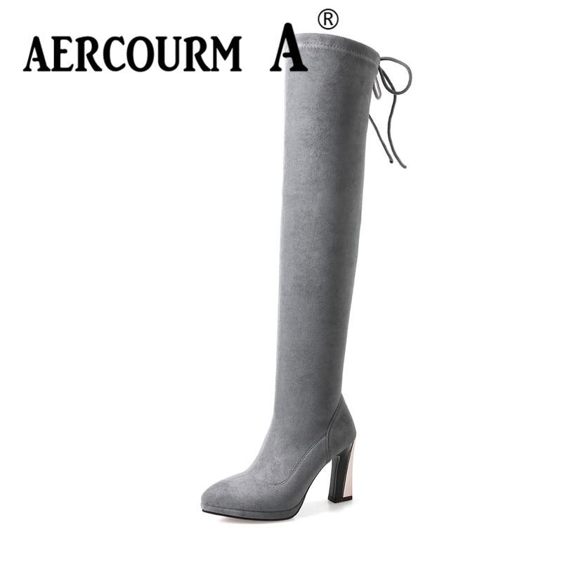 De Noir Dame En Chaussures 2018 Longues gris Femmes genou Bout Base Over Pointu Troupeau Un the Aercourm Bottes Laçage Cuir Solide marron nH40PFqq