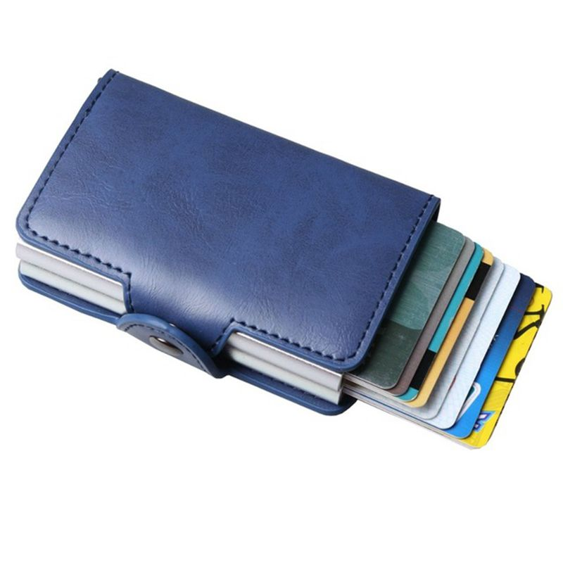 8b65fd9d108f Men Double Aluminum Leather Credit Card Holder RFID Metal Wallet Automatic  Pop Up Anti-theft Women ...