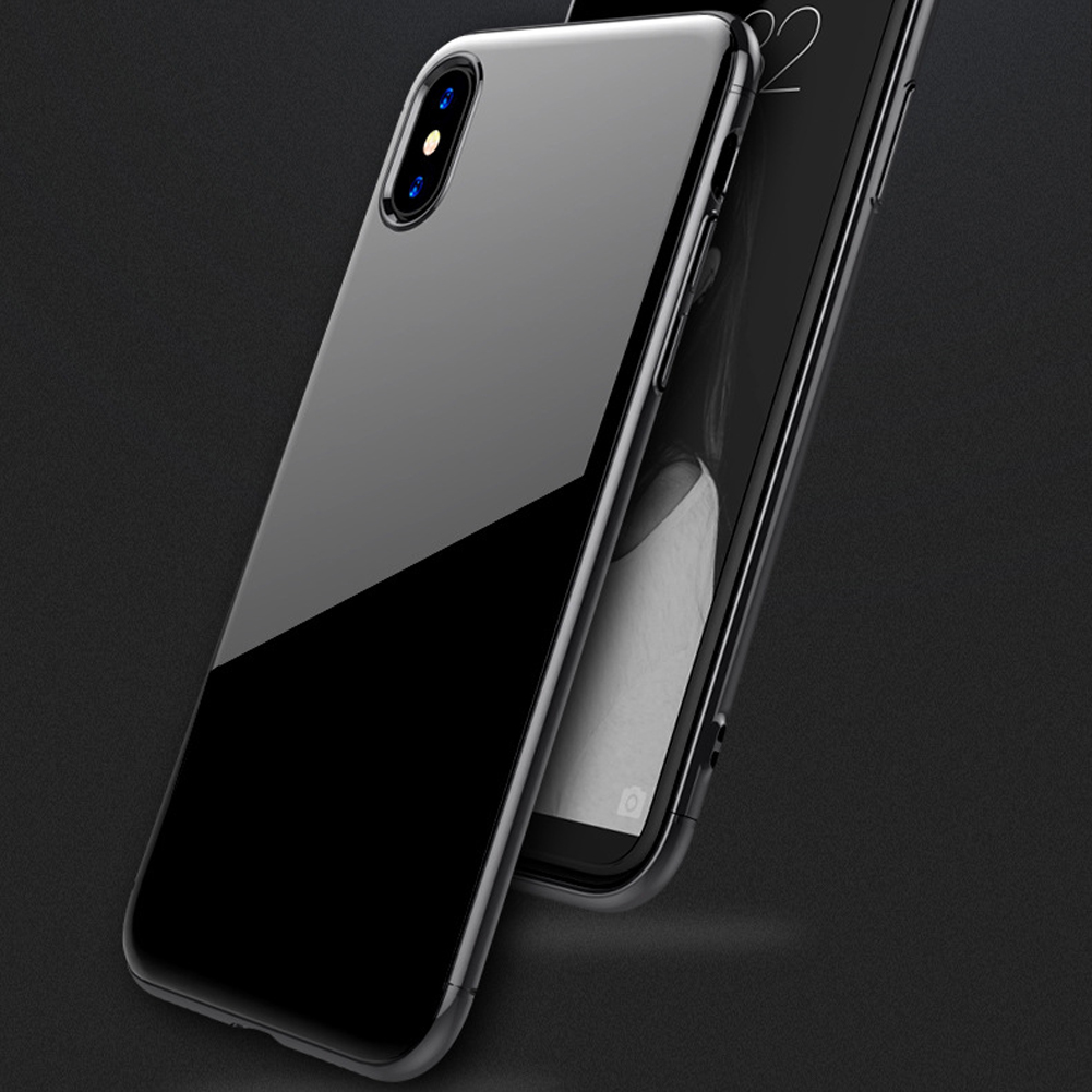JETJOY Simple Ultra Glossy Smooth Thin Jet Black Case Cover For Apple iPhone X 10 TEN Cases Shockproof Full Protection Shield