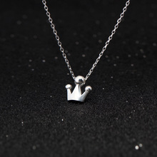real. 925-Sterling-Silver Jewelry Queen Princess Crown Necklace Tinny Pendant Cute for Child Girls women GTLX576