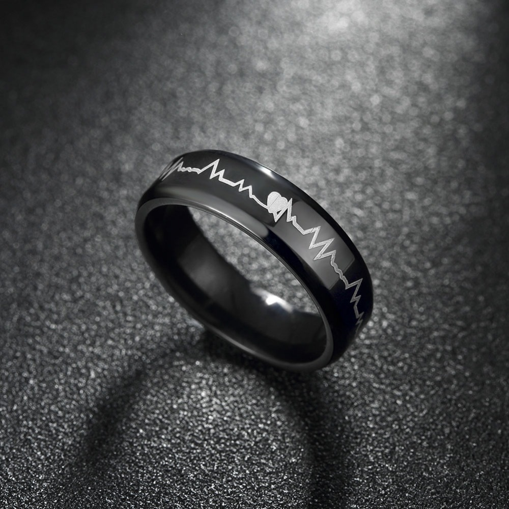 Music note flat rings man wear big size gifts boxes free R019-A-8 Fashion titanium steel ring