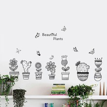 Creative Flowerpot With Butterfly Wall Stickers Living Room Bedroom Home Decoration Cactus Girasol Mural PVC Art Diy Plant Decal