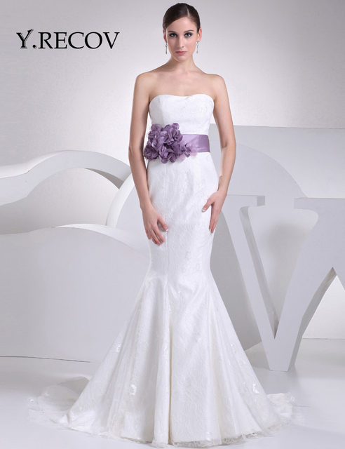 Simple Lace Wedding Dress Yd2225 Trumpet Sweetheart Purple Sash Mermaid Gown