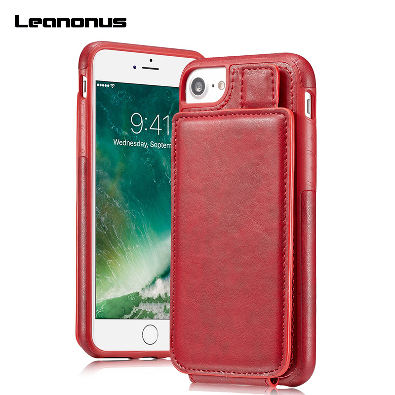 Leanonus Leather Case for iPhone 7 7Plus 8 Plus Up-down Fold Card Slots Phone Frame Cover for iPhone8 Plus Purse Bag Anti-Drop