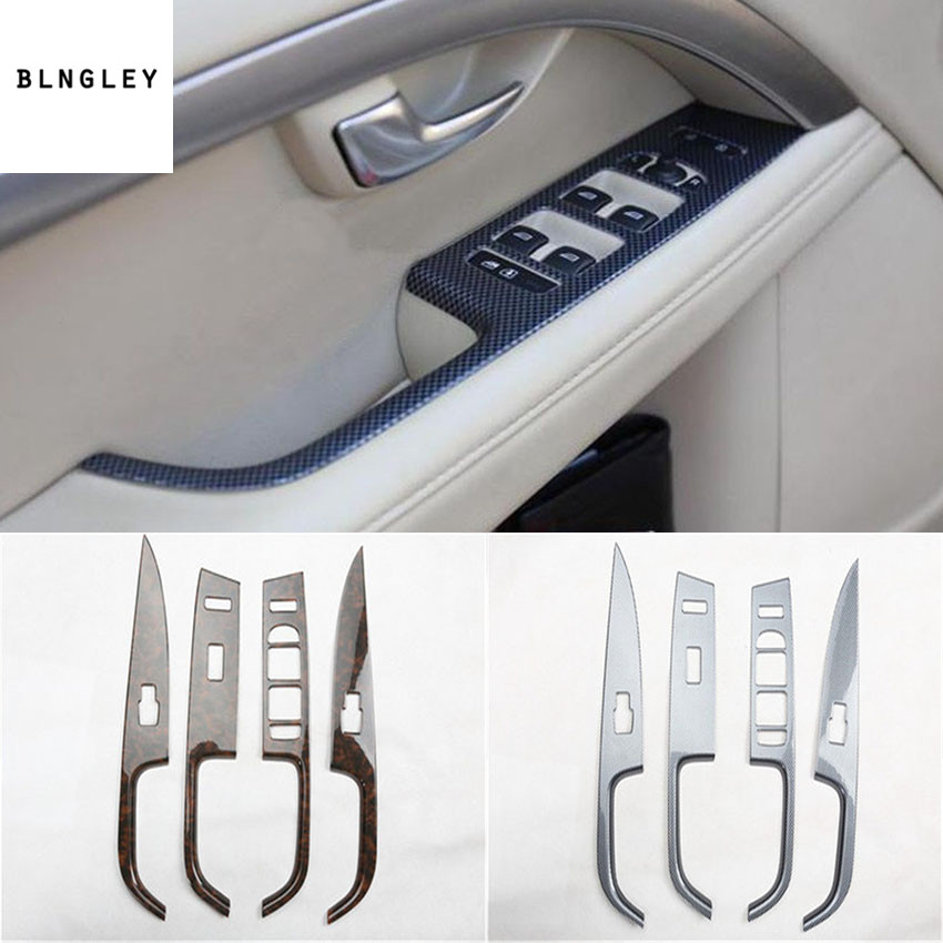 4pcs/lot ABS carbon fiber grain or wooden grain car window lift panel decoration cover for 2007 2016 Volvo S80