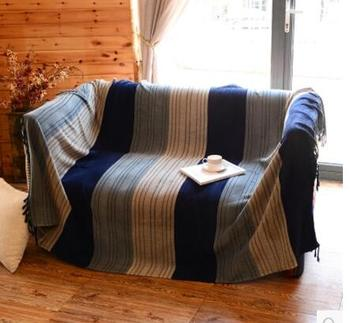 Nordic Mediterranean striped sofa cotton thread blanket bed cover for sofa throw blanket towel home texitle carpet