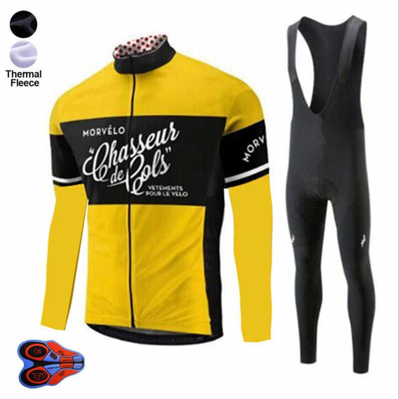21f9bf8ab Men s Thermal Fleece Winter Cycling Jersey Bib Pants Tights Kits Outdoor  Sporting Biking Sets Cycling Outfits