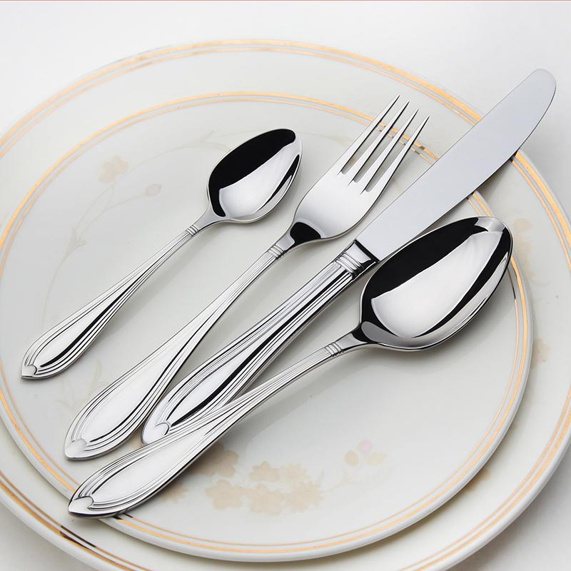 Stainless Cutlery 24 Flatware Sets Silver Salad Luxury Restaurant Kitchen Wedding Dinner