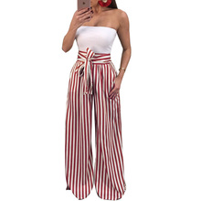 Women Trousers High Waisted Wide Leg Pants Elegant Striped Printed Pockets Bow Tie Drawstring Casual Loose Palazzo Pants Female tie side striped cami top with wide leg pants