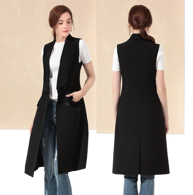 European 2016 autumn and winter women coat embroidery Female long vest overcoat ML16612