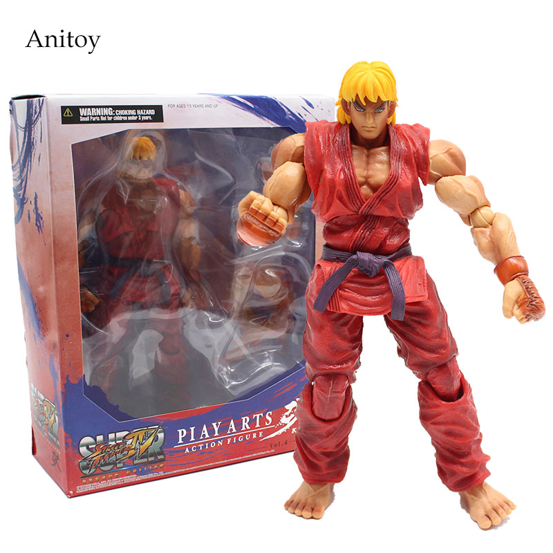 Play Arts Kai Street Fighter Super Ken Variant Action Figure 1/7 scale painted PVC Figure Collectible Toy 23cm KT4120 neca a nightmare on elm street freddy krueger 30th pvc action figure collectible toy 7 18cm