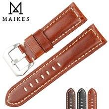 Maikes ремешок для часов из натуральной кожи 22 мм/24 мм/26