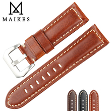 MAIKES Genuine Leather Watch Band 22mm 24mm 26mm Watch Accessories Watchband Brown Men Watch Strap For Panerai Watch Bracelet все цены