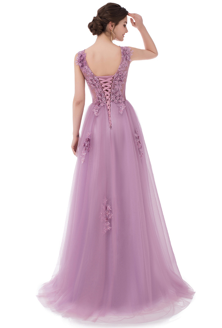 SSYFashion 2017 New Sweet Lace Evening Dress Purple Pink Appliques with Beading Sleeveless Floor-length Long Prom Party Gowns