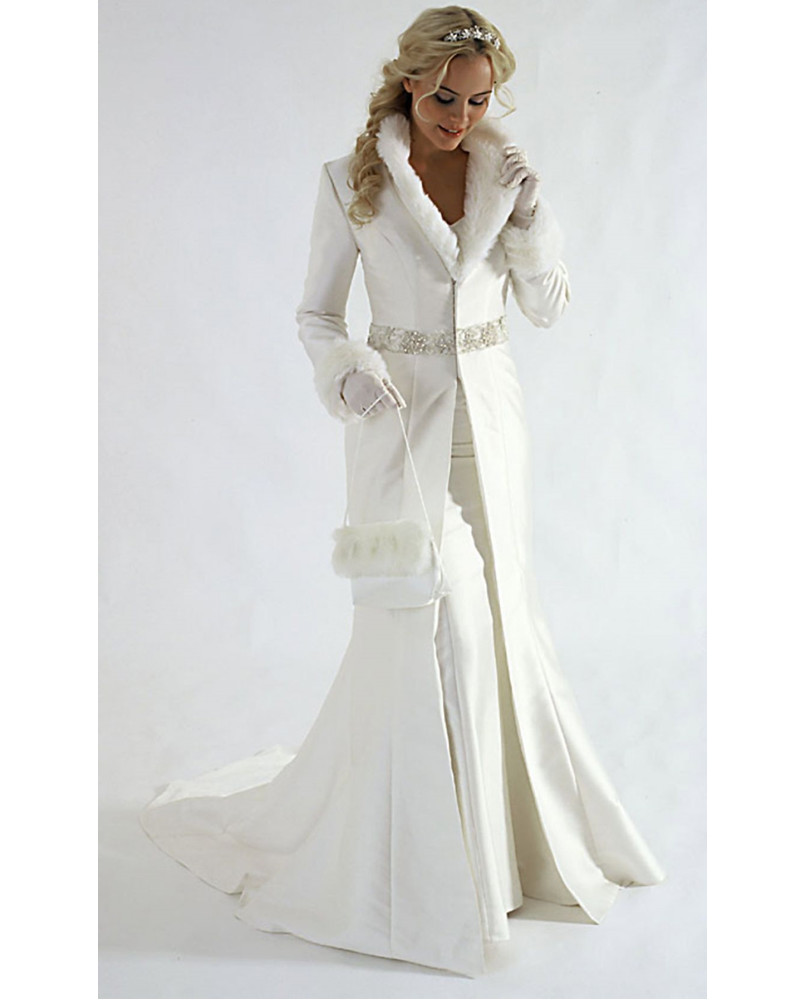 New Arrivals Winter Wedding Dress Wedding Coat V Neck Long Sleeves
