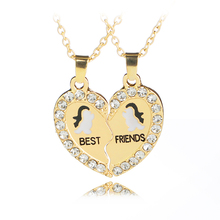 Necklace Heart Pendant Detachable Popular Personality Fashion Alloy Rhinestone Best Friend Gift