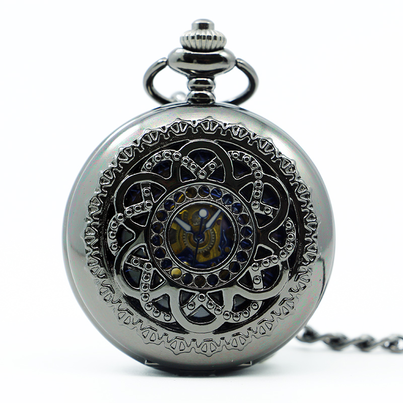 Vinatge Hollow Flower Case Stainless Steel Skeleton Dial Hand-wind Mechanical Pocket Watches With Fob Chain PJX1240
