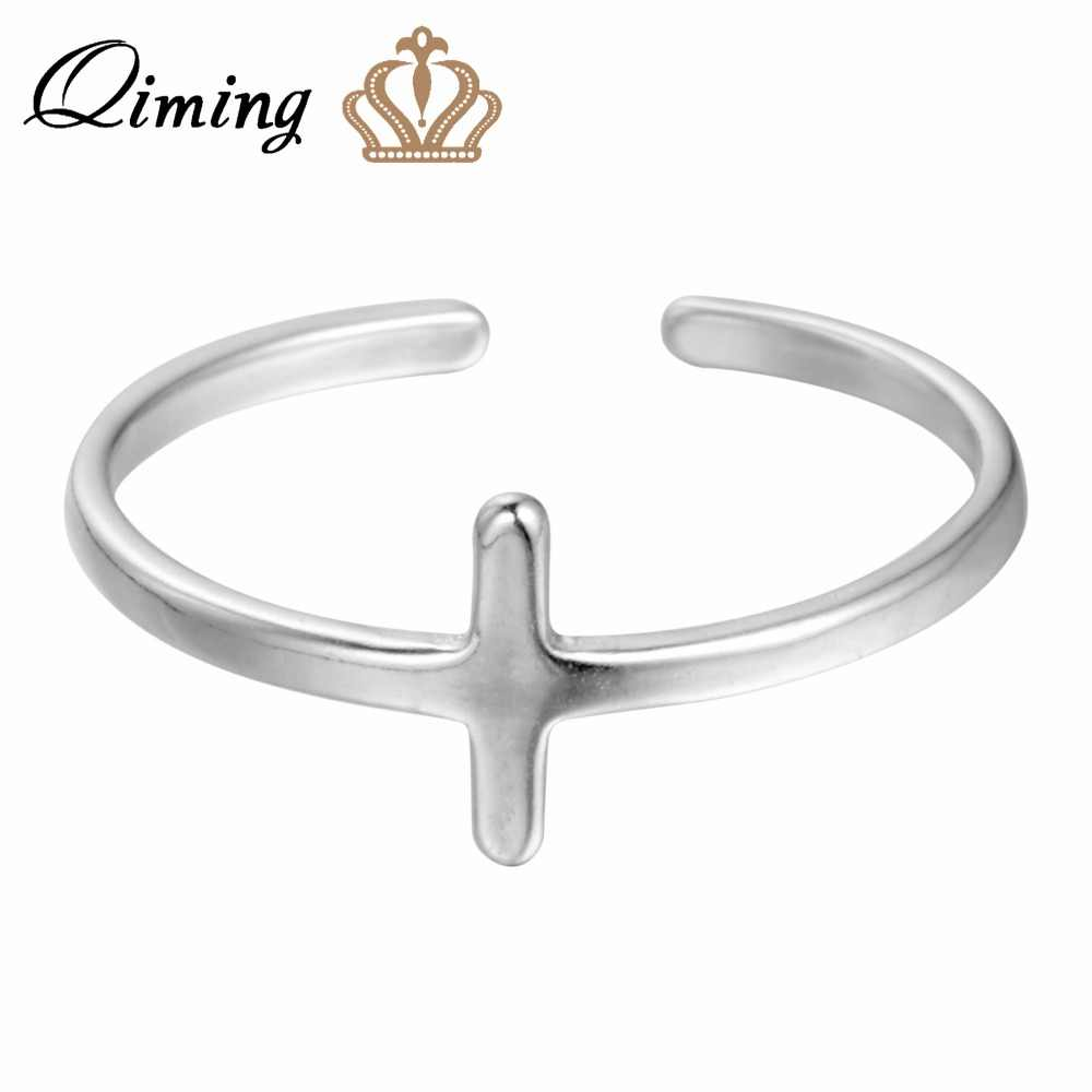 5f2847c28959e QIMING 925-Sterling-Silver Jewelry Cross Rings Simple Style Men Ring  Christian Jesus Women Vintage Rings for Girls Bague