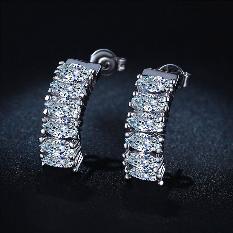 H:HYDE Hot Silver Color Earrings for Women CZ Fine Jewelry AAA Zircon Wedding Engagement boucle doreille